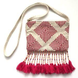 Merona crossbody embroidered with beaded tassels